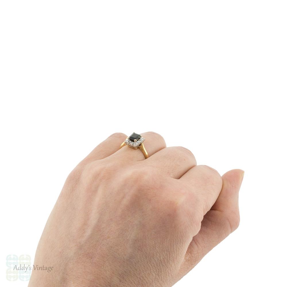 Green Tourmaline & Diamond Halo Engagement Ring, Vintage 18ct Yellow & White Gold.
