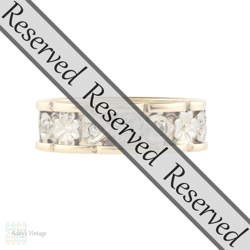 RESERVED Flower & Heart Engraved Diamond Wedding Ring, 1940s 14k Eternity Band. Size M.5 / 6.5.