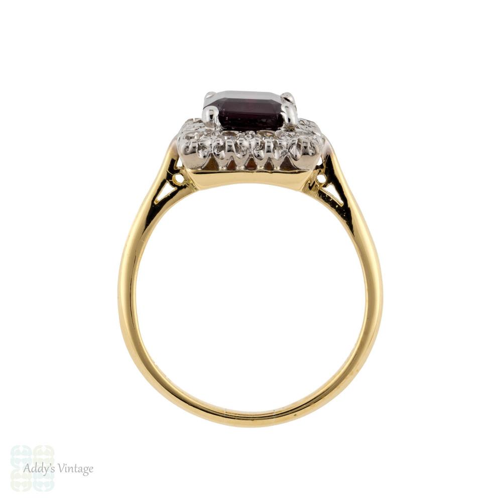 Garnet & Diamond Halo Engagement Ring, 18ct 18k Vintage Emerald Cut Cluster Ring.