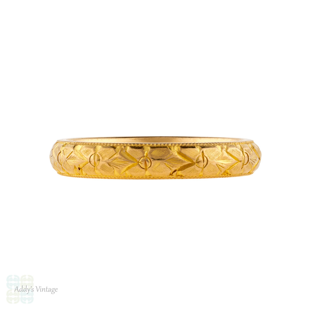 Engraved Floral Blossom 22ct Wedding Band, Ladies Vintage 1950s 22k Ring Size L / 5.75.