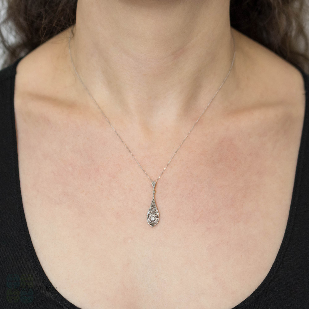 Art Deco Diamond Drop Pendant, 14k Yellow Gold & Platinum Filigree Necklace.