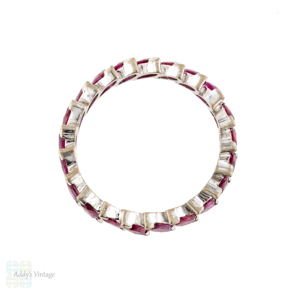 Ruby Marquise Cut Eternity Ring, Vintage Full Hoop 18ct 18k Wedding Band. Size L / 5.75.