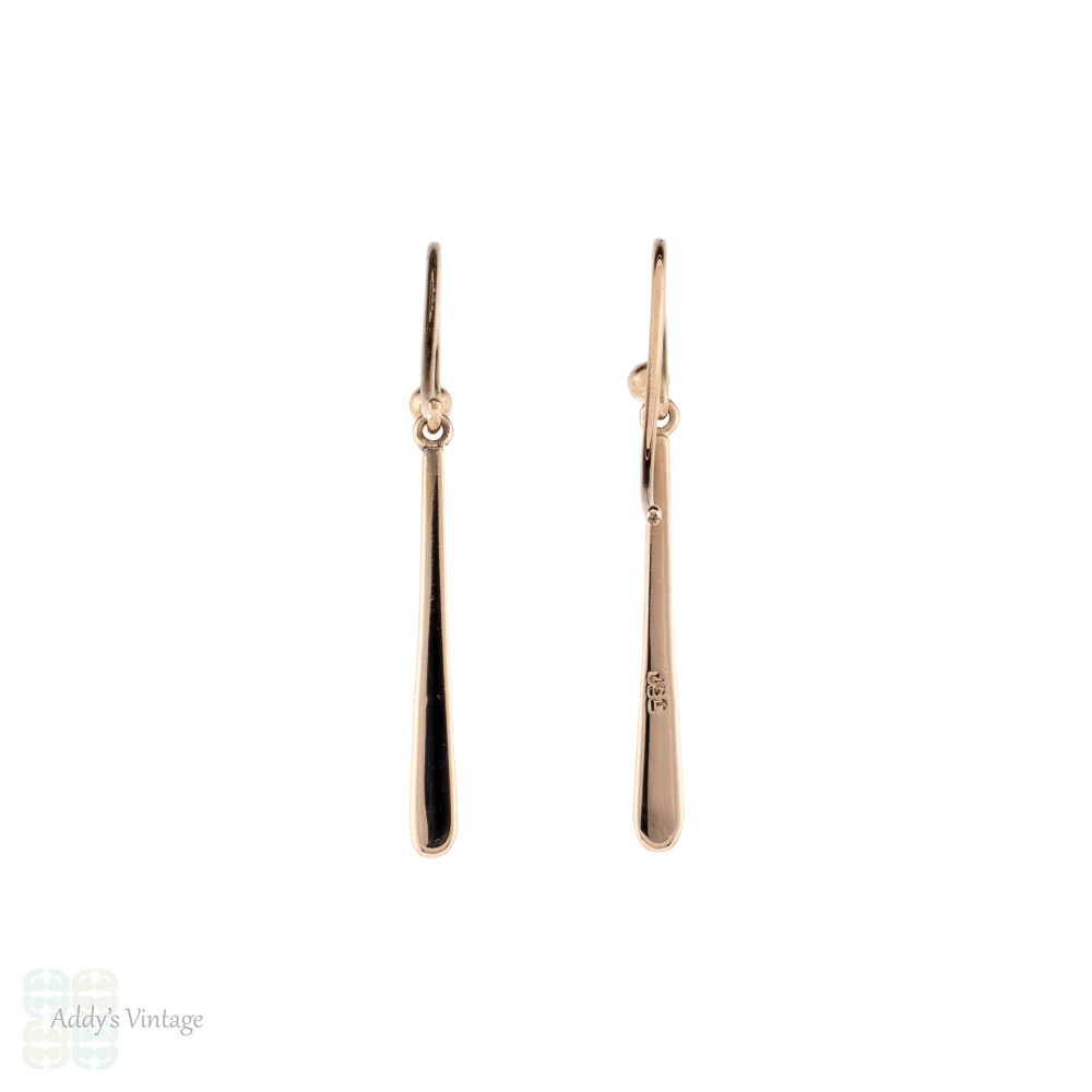 Tapered Drop Earrings, Antique 9ct 9k Rose Gold Simple Everyday Dangle Earrings.