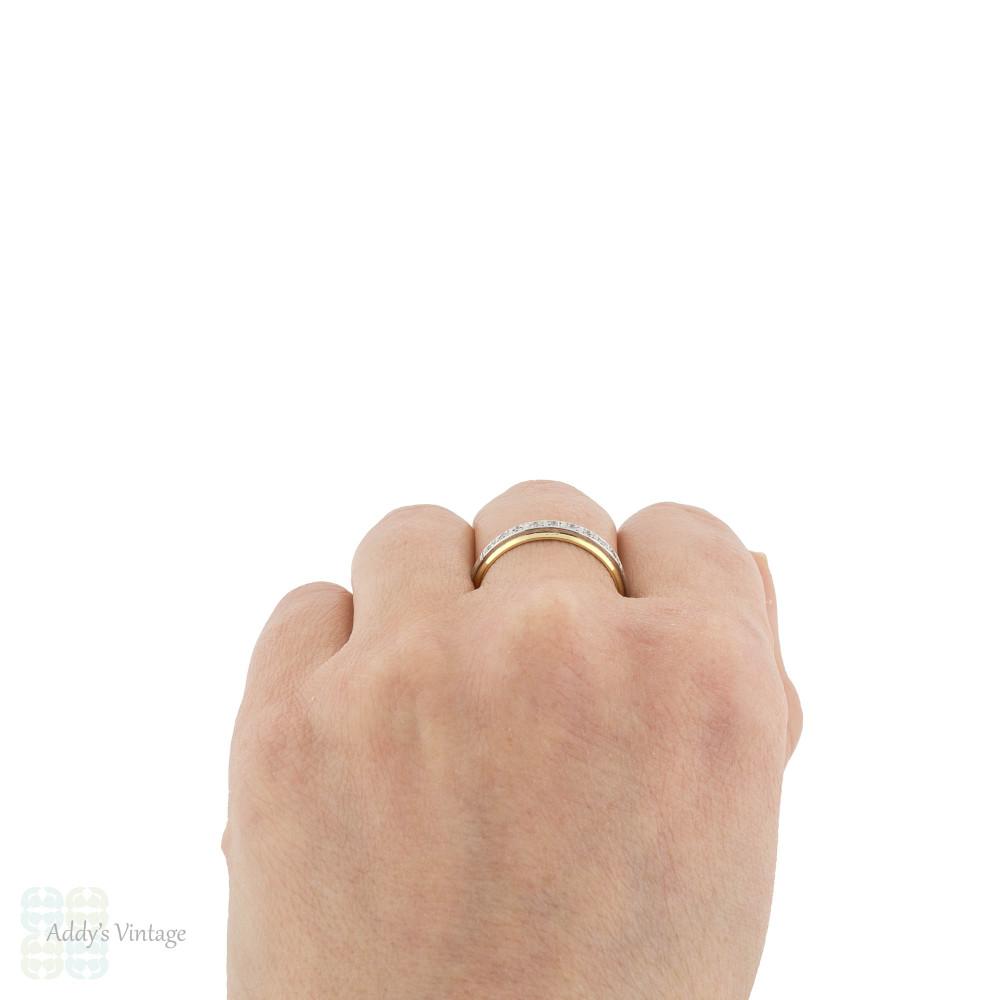 Diamond Half Hoop Wedding Ring, Vintage 18ct 18k Two Tone Gold Eternity Band Size S.5 / 9.5.