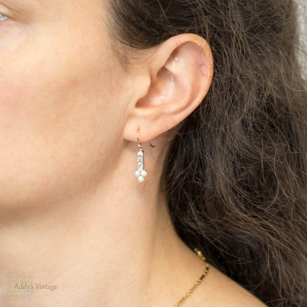 Antique Cultured Pearl & Old Mine Cut Diamond Earrings, Victorian Converted 15ct 15k Rose Gold Dangles.
