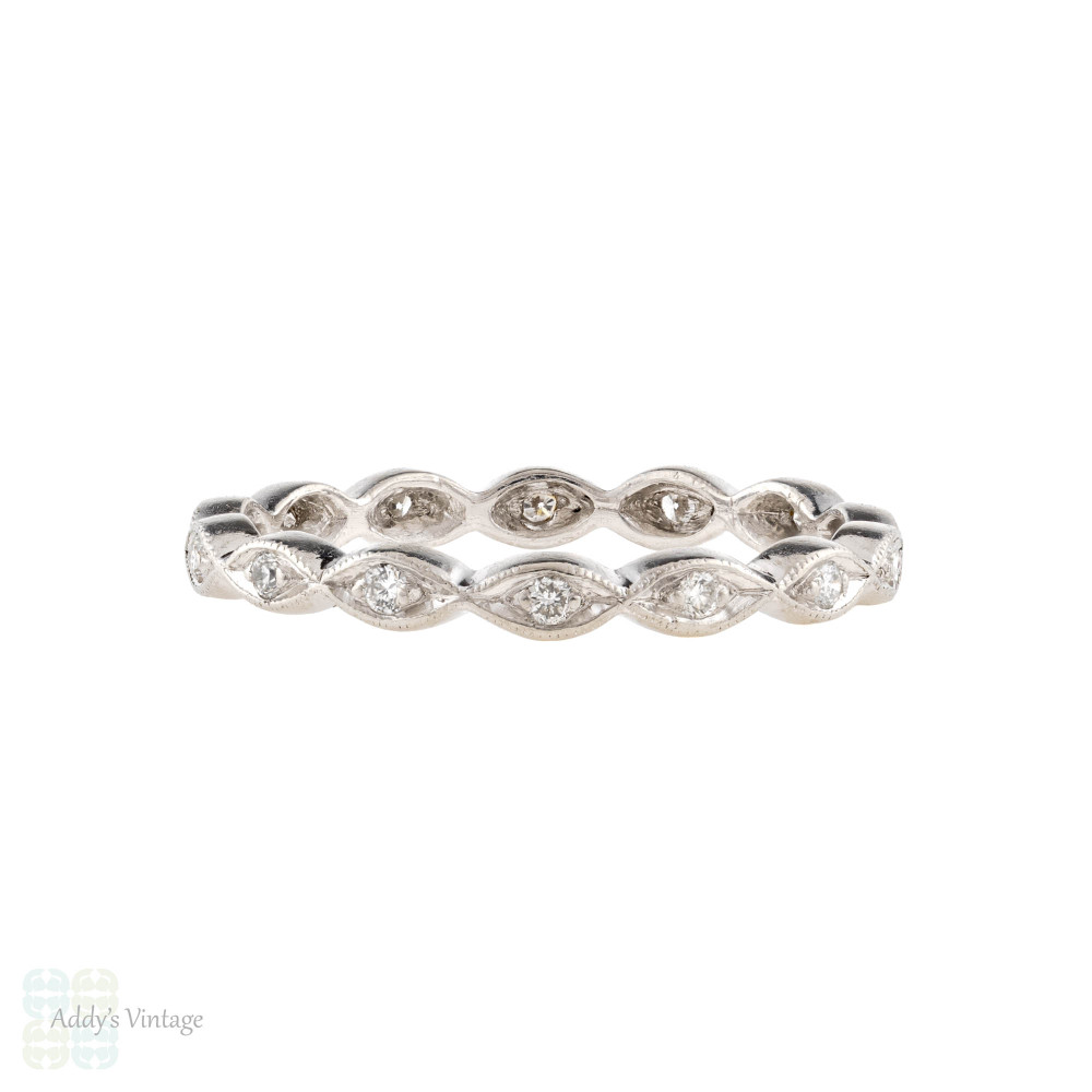 Marquise Design Diamond Eternity Ring, Bead Set Platinum Geometric Wedding Band Size N / 6.75.