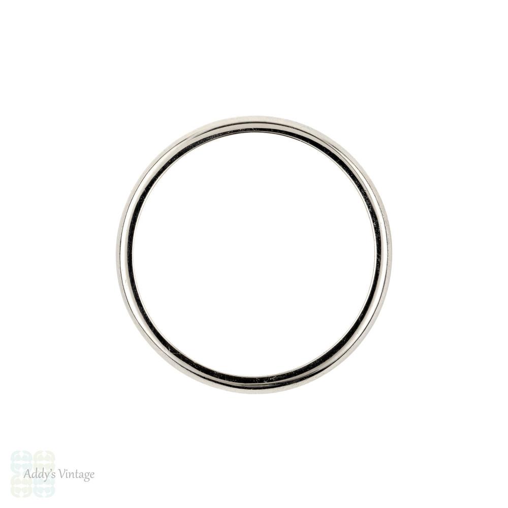 Narrow Vintage Platinum Ladies Wedding Ring, Simple Slender Spacer Band Size J / 4.75.