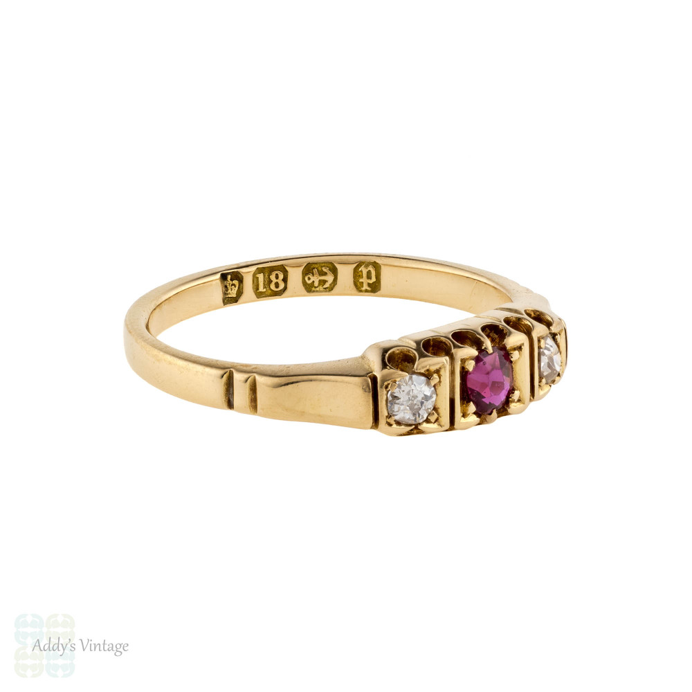 Antique Ruby & Old Mine Cut Diamond Three Stone Ring, Victorian 18ct Yellow Gold Tapered Band.