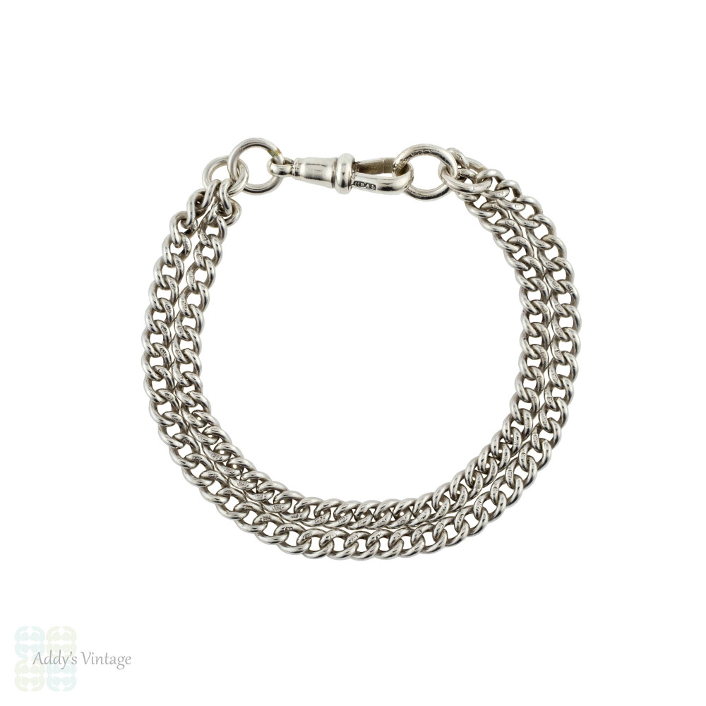 Antique Sterling Silver Bracelet, Converted Victorian Double Strand Albert Curb Chain.