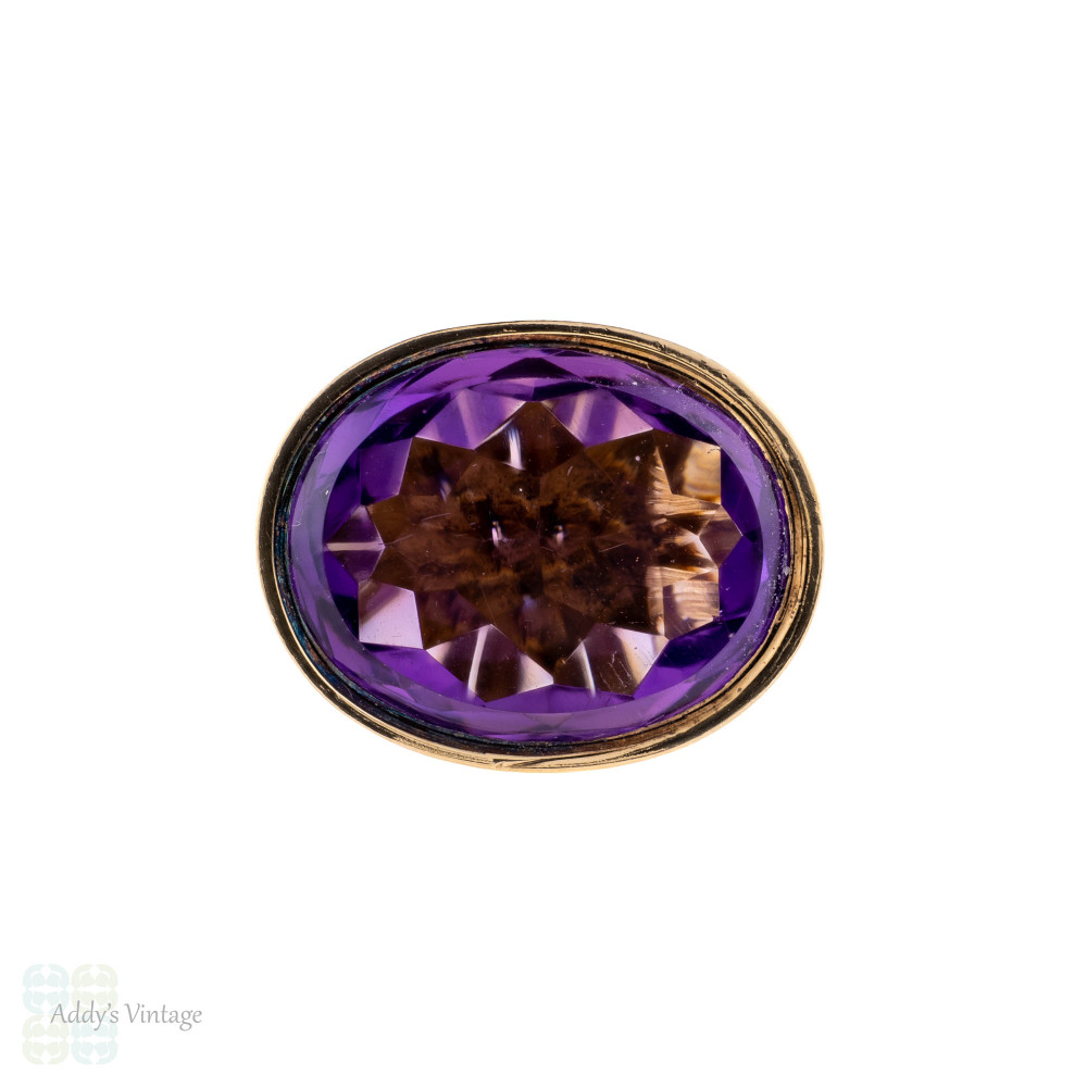 Amethyst Fob Pendant, Antique Victorian 9ct 9k Rose Gold Heavy Seal Design Pendant.