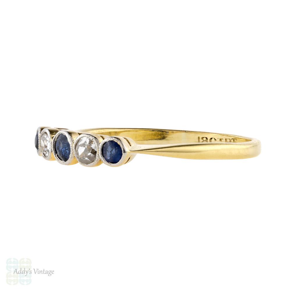 Sapphire & Diamond Five Stone Ring, Antique Alternating Bezel Set Gems 18ct & Platinum