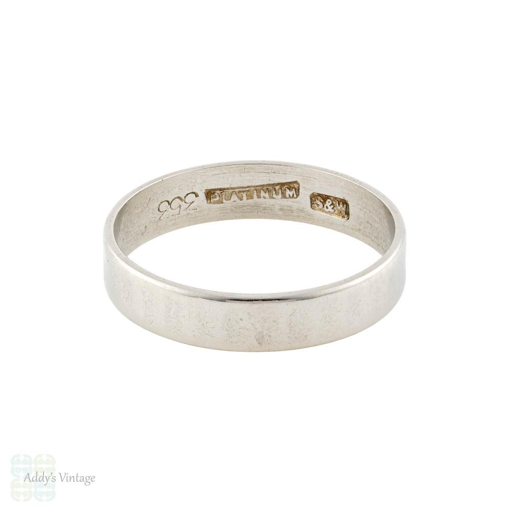 Vintage Platinum Hammered Plain Wedding Ring, Ladies 4mm Wide Band Size M / 6.25.