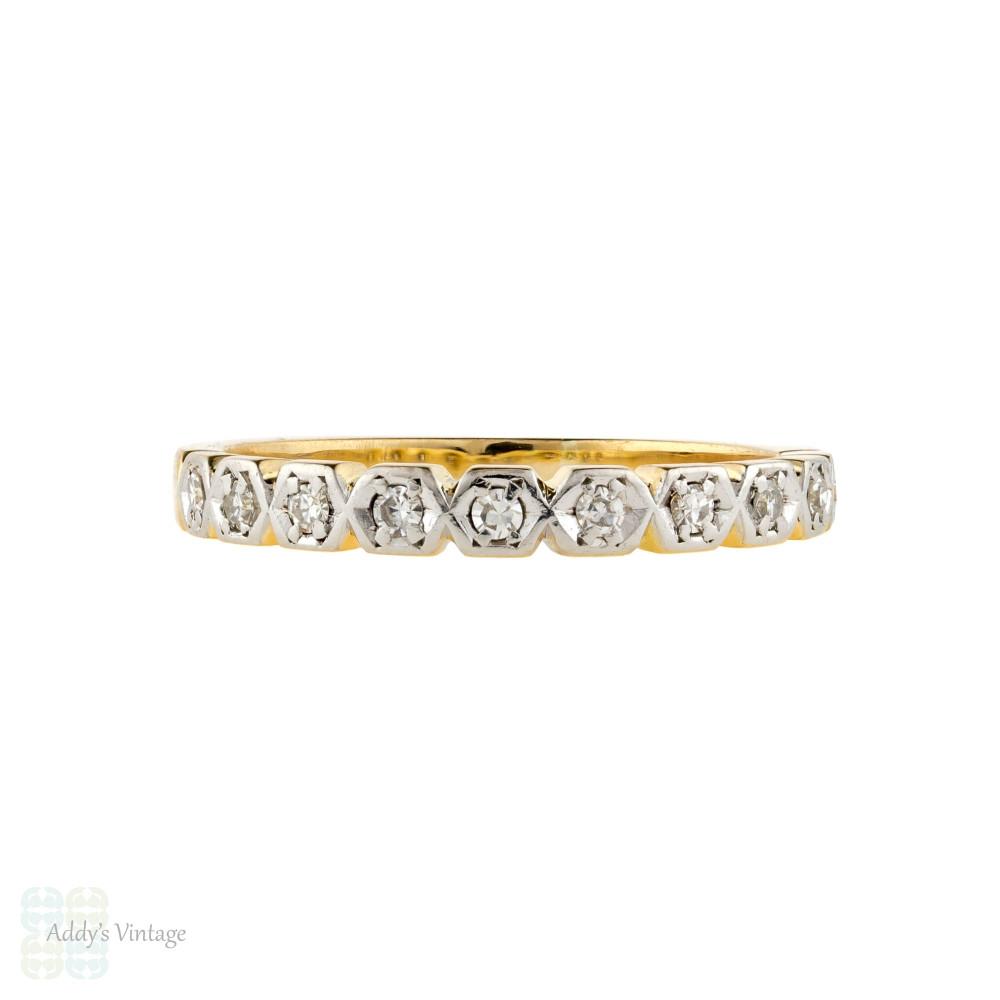 Diamond Half Hoop Wedding Ring, Vintage Hexagonal 10 Stone Band 18ct Gold & Platinum.