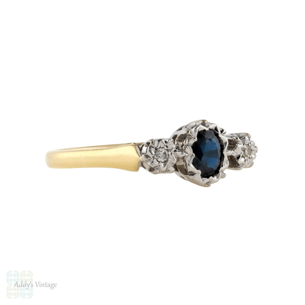 Sapphire & Diamond Three Stone Engagement Ring, Vintage Oval Cut Sapphire 18ct & Platinum.