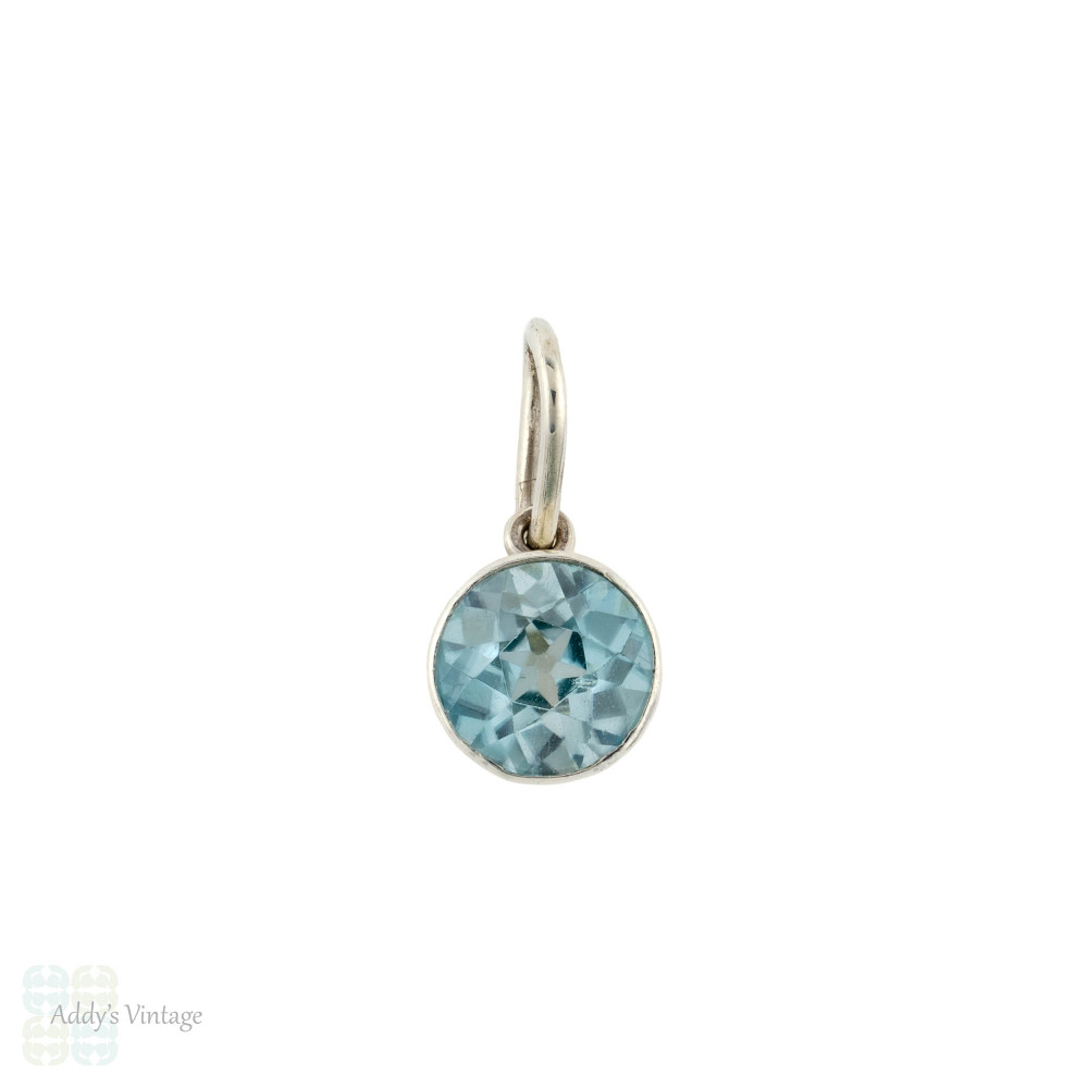 Blue Zircon Bezel Pendant, Sterling Silver Antique Converted Charm on Chain.