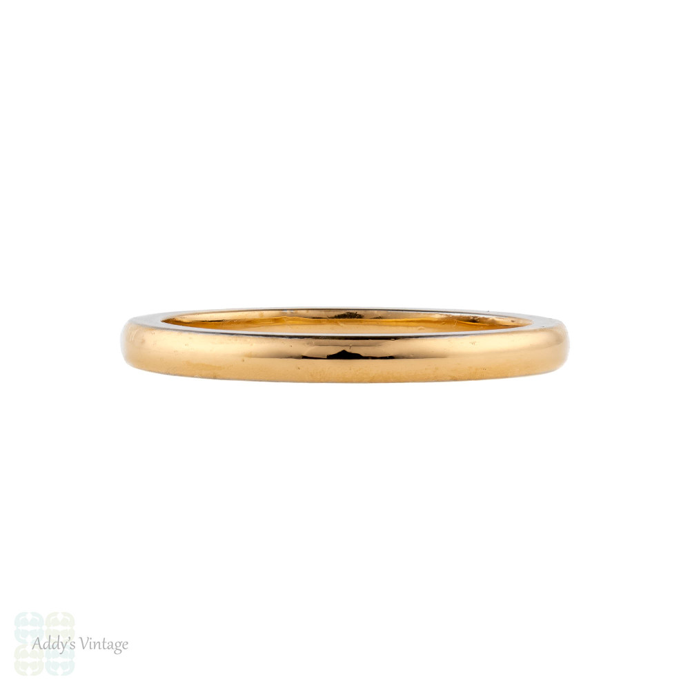 Art Deco 22ct Platinum Wedding Ring, Vintage 1930s Two Tone Band Size L.5 / 6.
