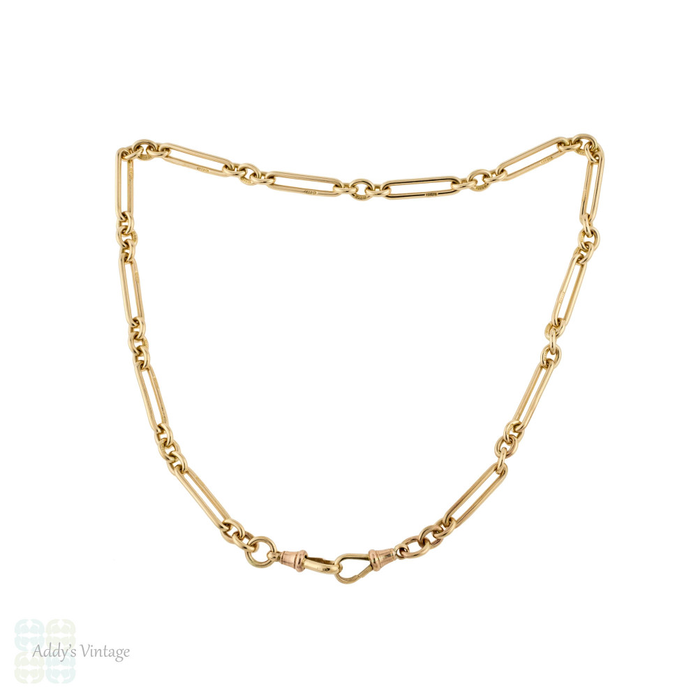 Antique 9ct Trombone Chain, 9k Rose Gold Oblong Link with Dog Clips 15.75 Inches.