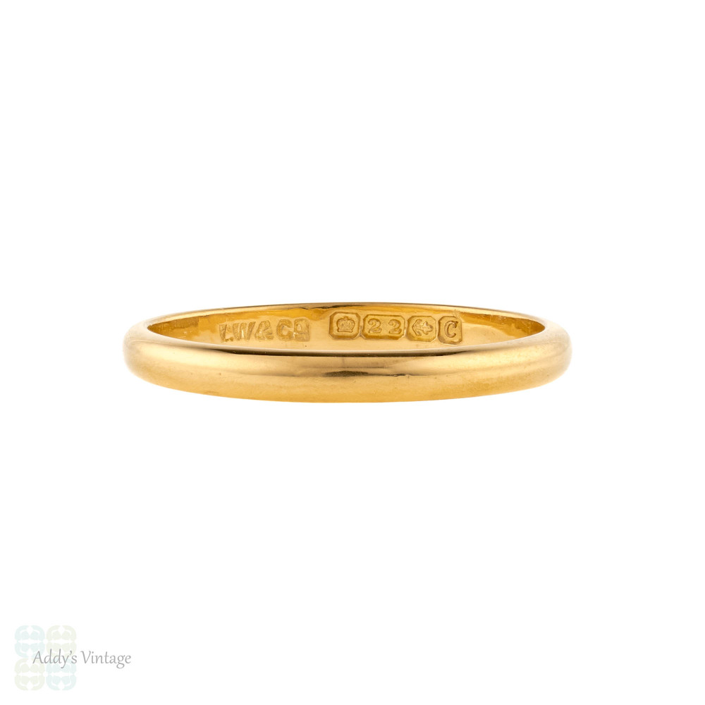 Art Deco 22ct Gold Wedding Ring, 1920s Ladies Slender 22k Band Size S / 9.