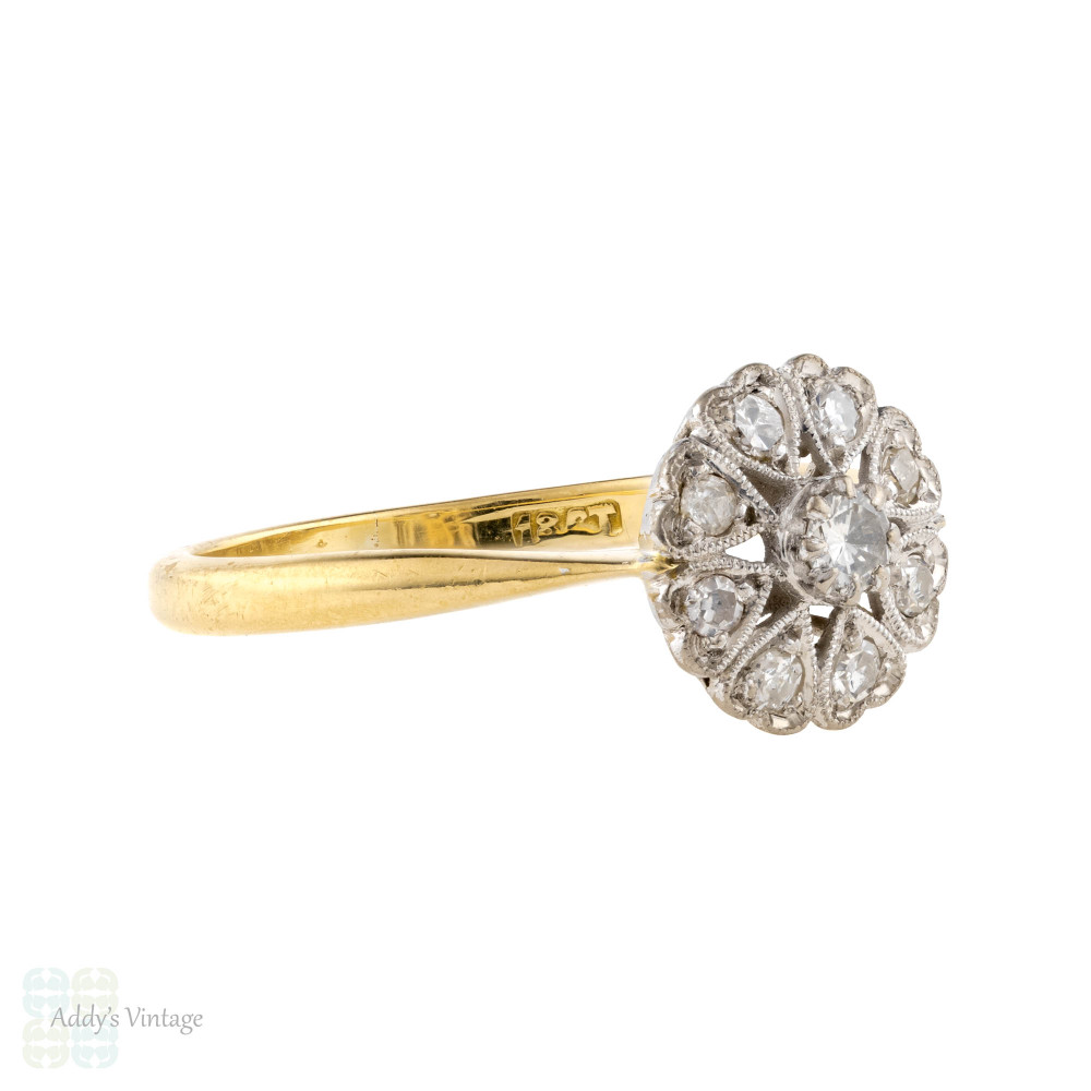 Vintage Diamond Engagement Ring, Mid Century Heart Cluster Ring, 18ct 18k Gold.