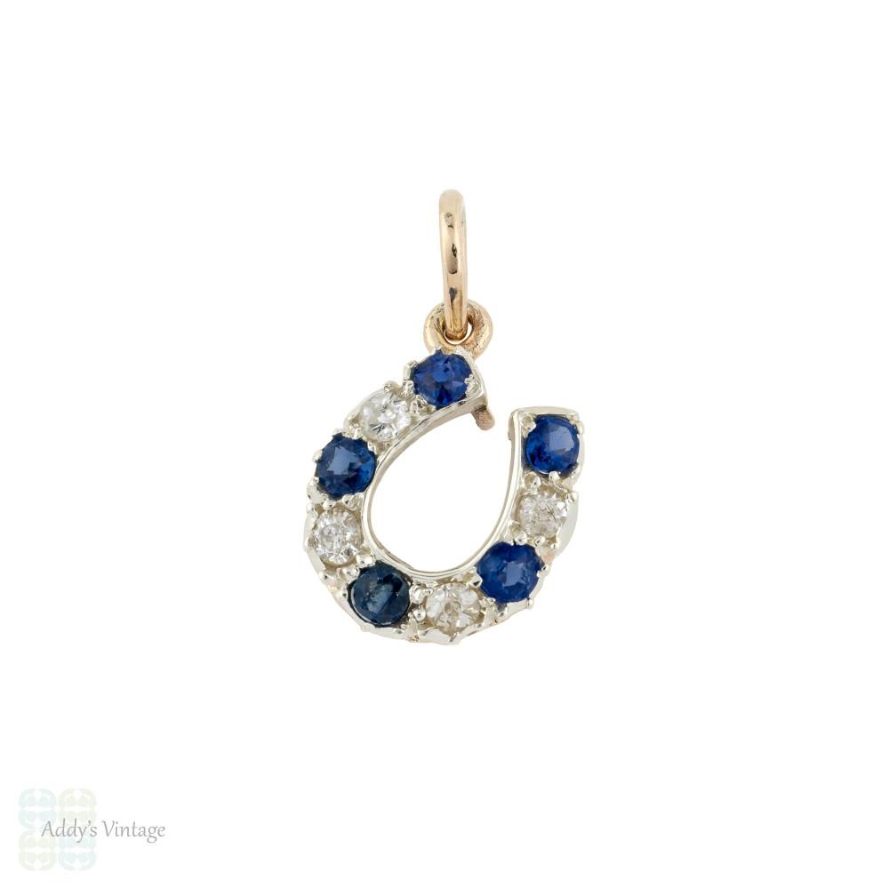 Sapphire & Old Cut Diamond Horseshoe Pendant, 9ct 9k Gold Lucky Charm Victorian Conversion.