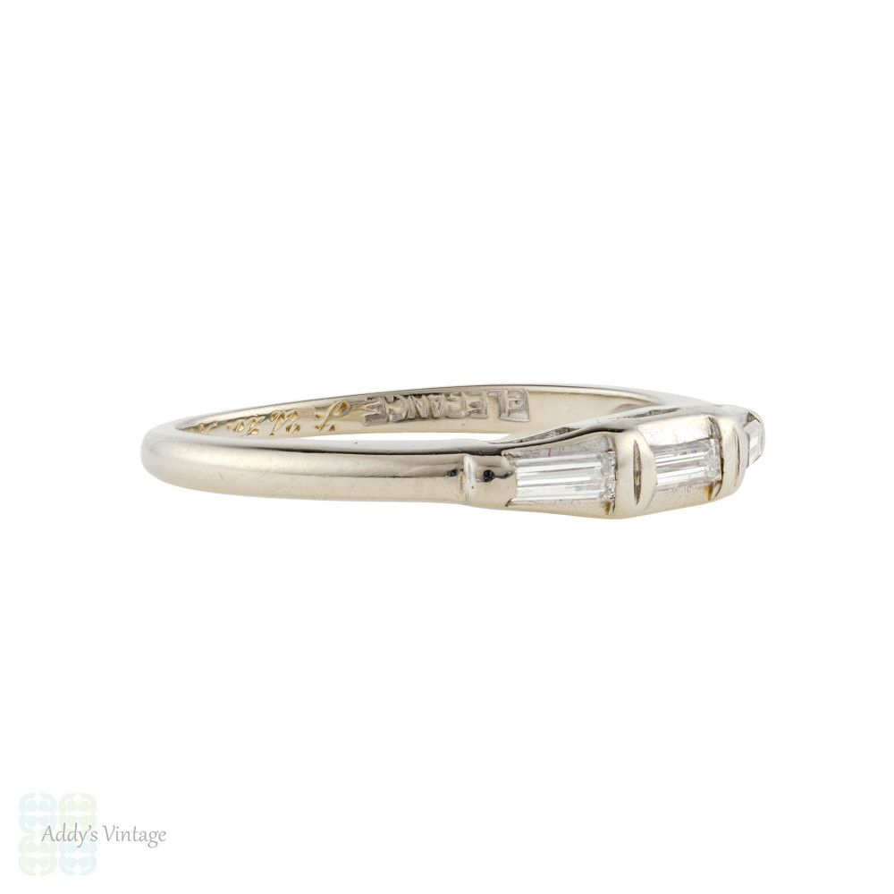 Baguette Three Stone Diamond Wedding Ring, 14k 14ct White Gold Vintage 1960s Band.