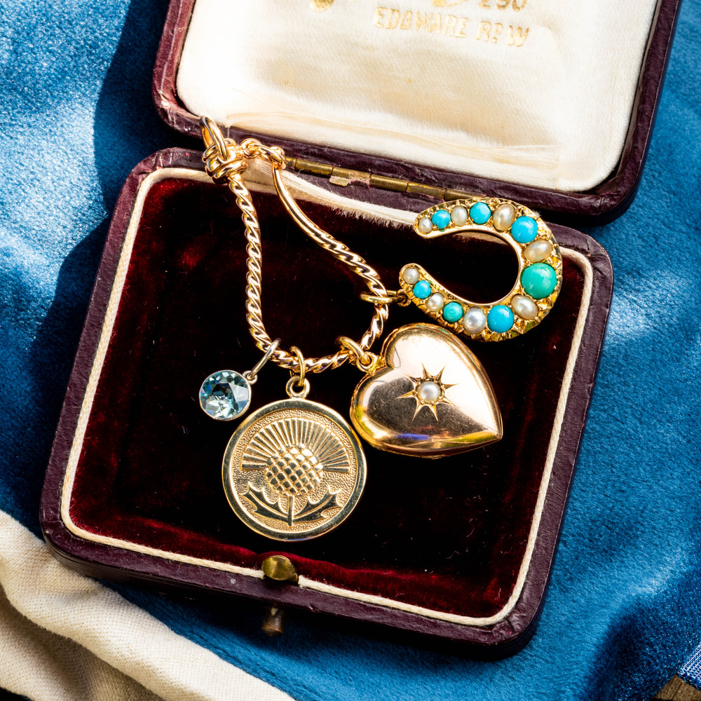 Antique Turquoise & Cultured Pearl Horseshoe Pendant, Large 9ct 9k Gold Lucky Charm Victorian Conversion.