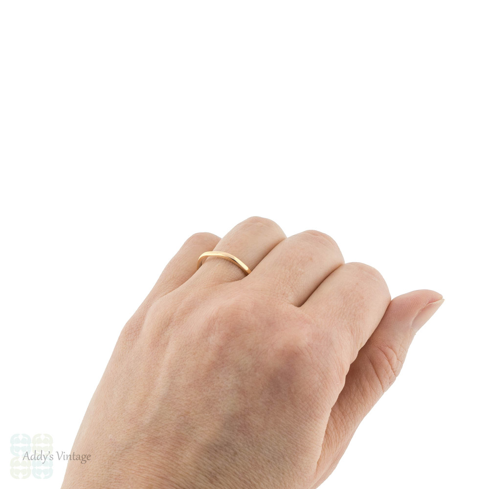 22ct & Platinum Faceted Wedding Ring, Slender Vintage 1940s Band Size O.5 / 7.5.
