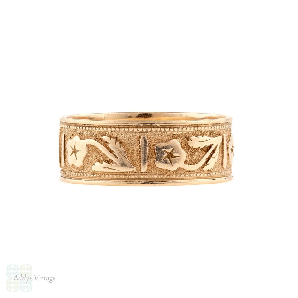 Antique Floral Engraved Wide Band, 14k 14ct Rose Gold Flower Ring Size N.5 / 7.