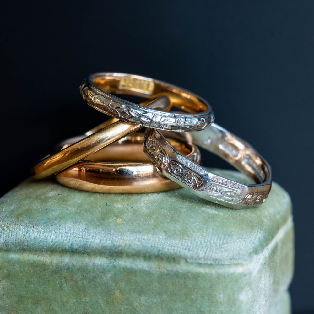 RESERVED Engraved Floral Wedding Ring, Art Deco 18k 18ct Two-Tone Orange Blossom Band Size J / 4.75.