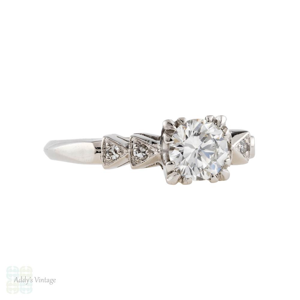 Mid Century Platinum Diamond Engagement Ring, Vintage 0.75ctw Geometric Triangle Setting.