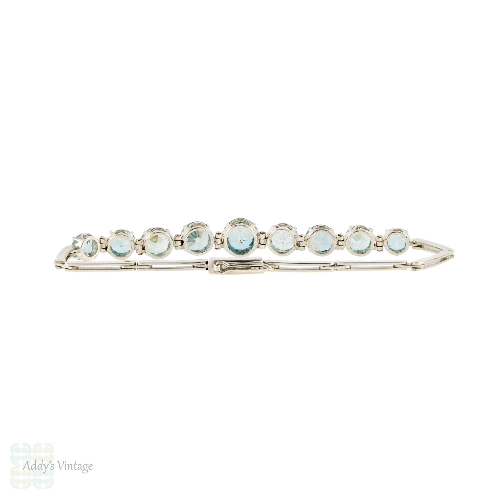 Vintage Blue Zircon Bracelet, Mid 20th Century Graduated Sterling Silver Link Bracelet.