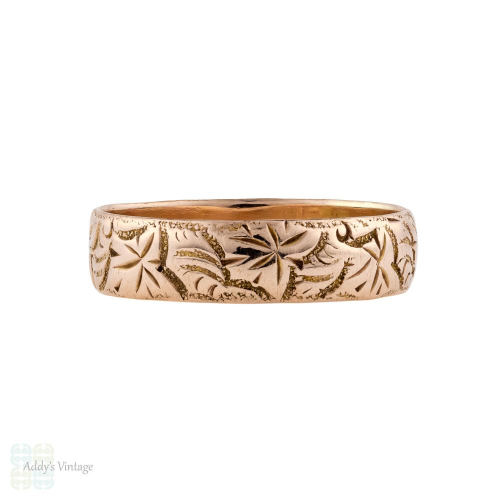 Antique Engraved Ivy Leaf Wedding Ring, 9ct 9k Rose Gold Wide 1910s Band Size R / 8.75.