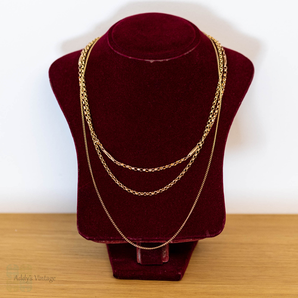 Antique 9ct Rose Gold Curb Chain with Barrel Clasp, 56 cm / 22 inches.