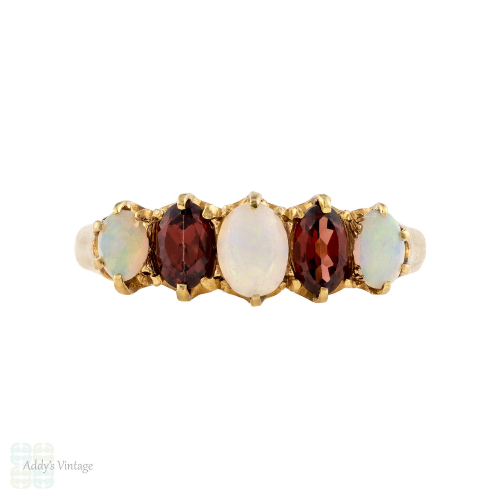 Antique Opal & Garnet Graduated Five Stone Ring, 18ct 18k Yellow Gold 1910s Band.