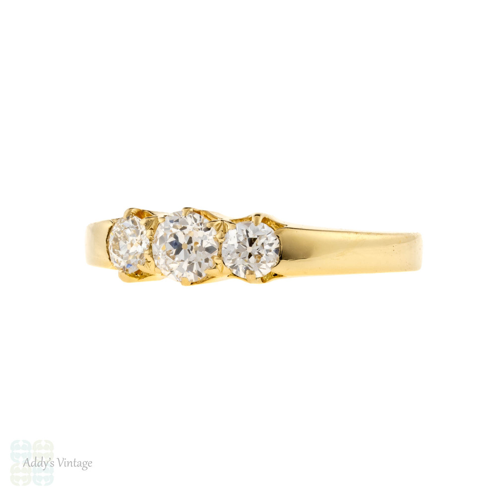 Three Stone Old European Cut Diamond Engagement Ring, 18ct 18k Yellow Gold.