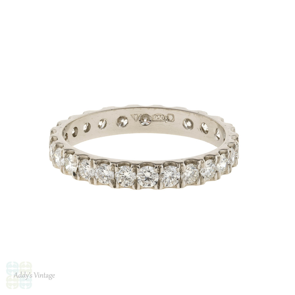 Platinum Diamond Eternity Ring, 0.68 ctw Claw Set Wedding Band Size I.5 / 4.5