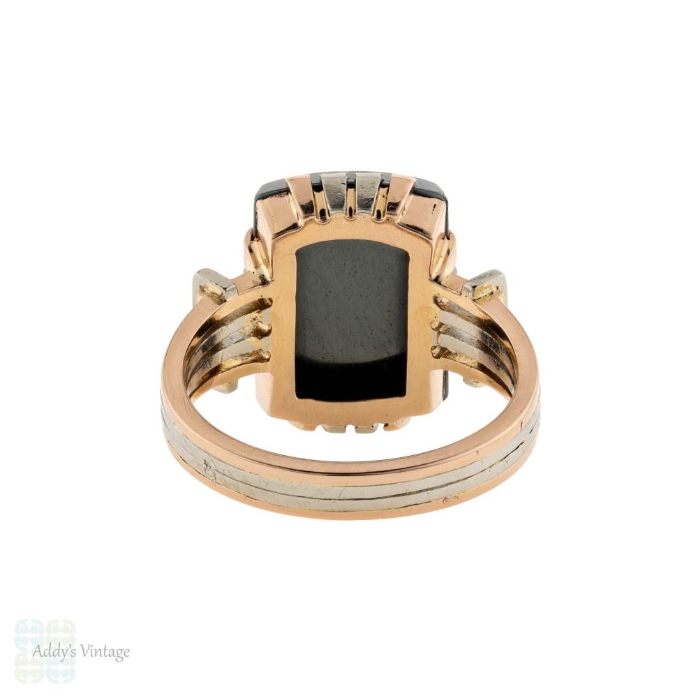 Retro Hematite Statement Ring, Vintage Mid Century French Hallmarked 18ct Rose & White Gold.