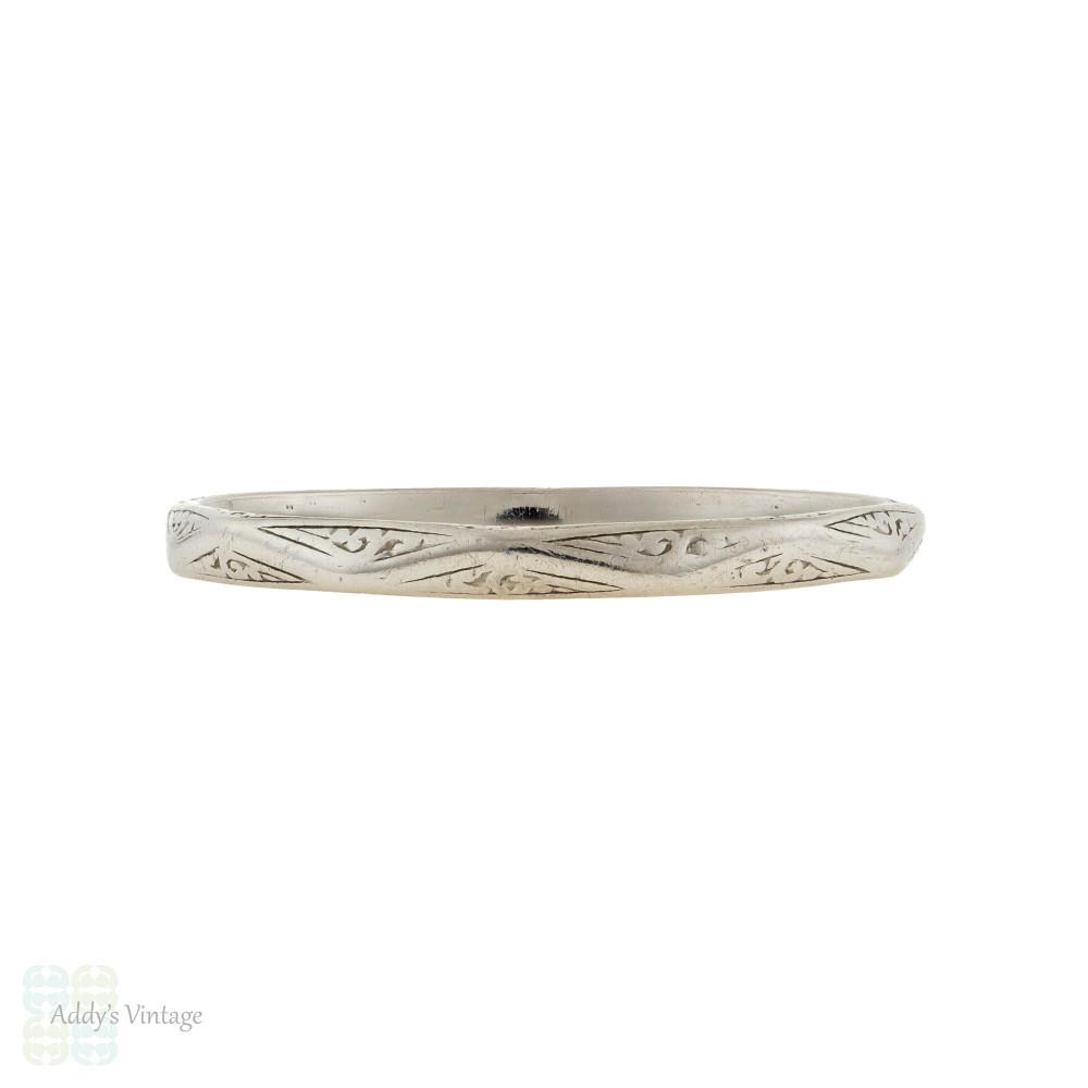 RESERVED Vintage Slender Engraved Platinum Wedding Ring, Ladies Faceted Band Size R.5 / 9.