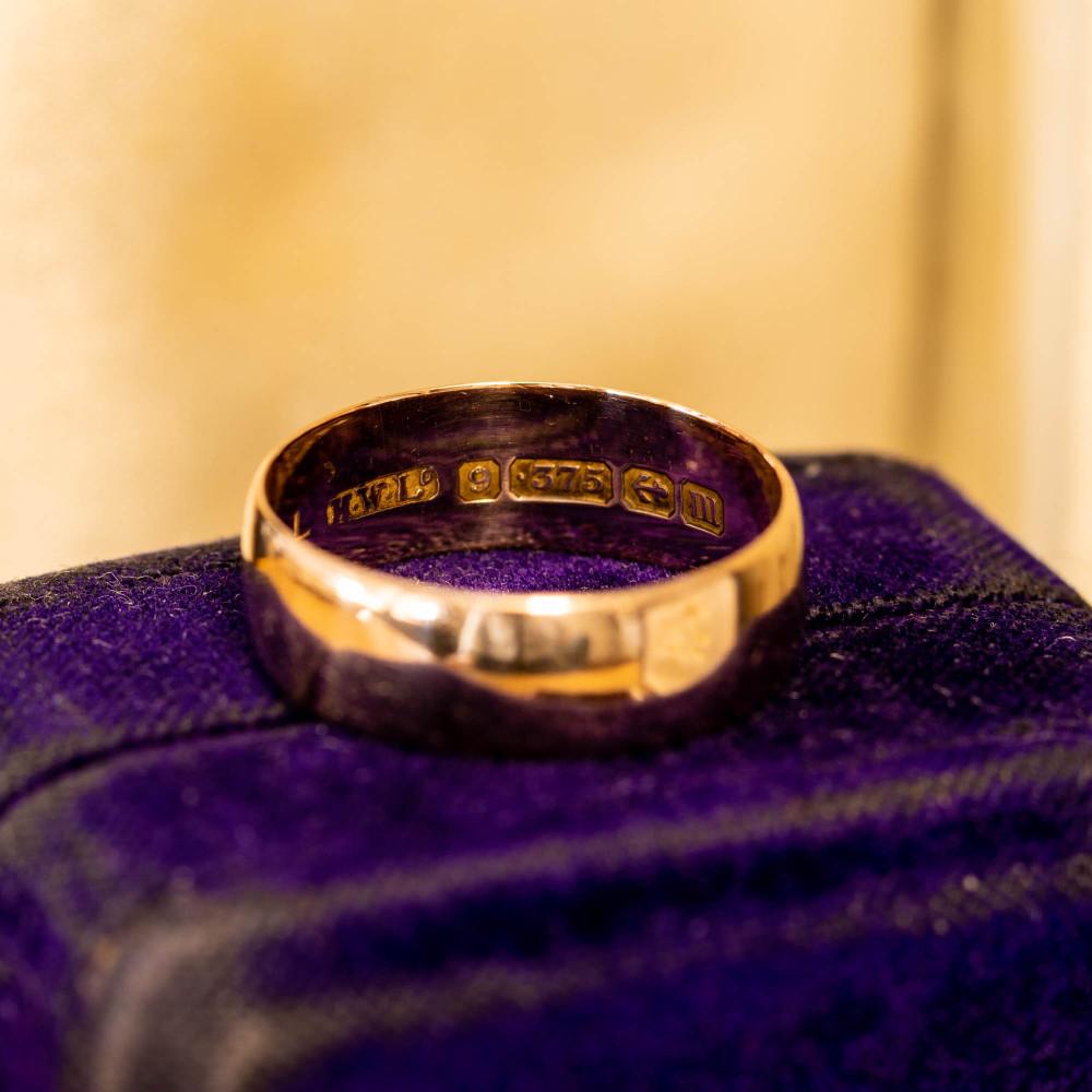 Antique 9ct Rose Gold Wedding Ring, 9k 1910s Cigar Wedding Band Size O.5 / 7.5.