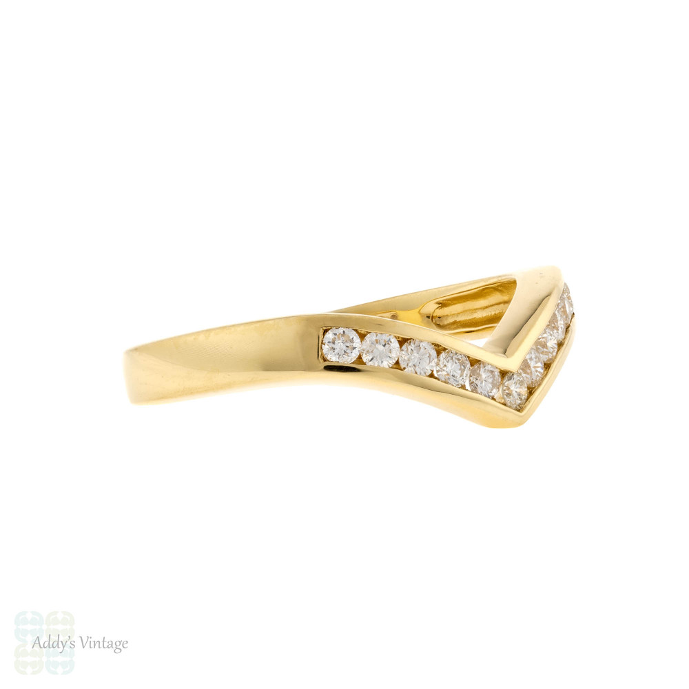 Wishbone Diamond Wedding Ring, Chevron Shape 18ct 18k Yellow Gold Half Hoop Band.