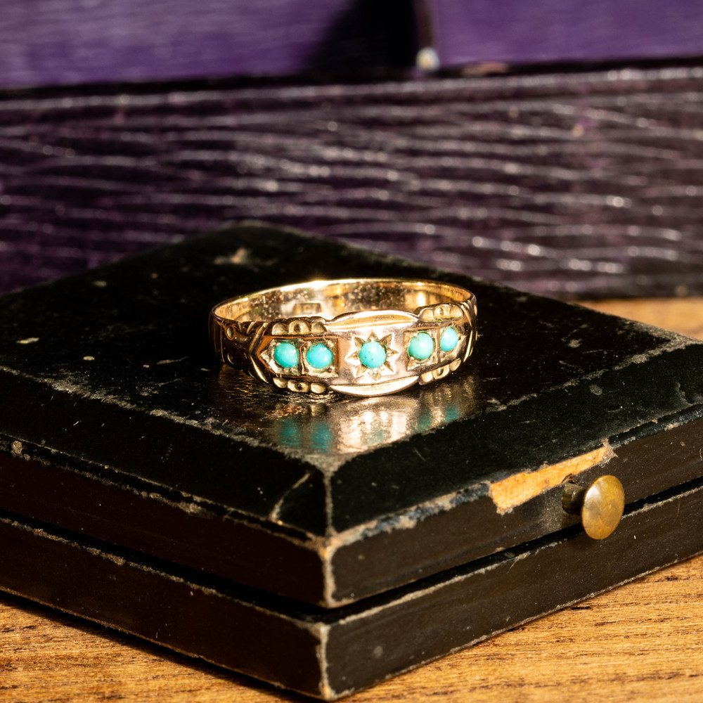 Antique Turquoise Five Stone Ring, Victorian 9k 9ct Rose & Yellow Gold Band.