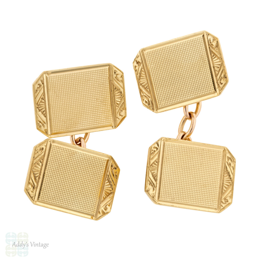 Vintage 9ct Gold Cuff Links, 1950s Engraved & Engine Turned Double Faced 9k Cufflinks.