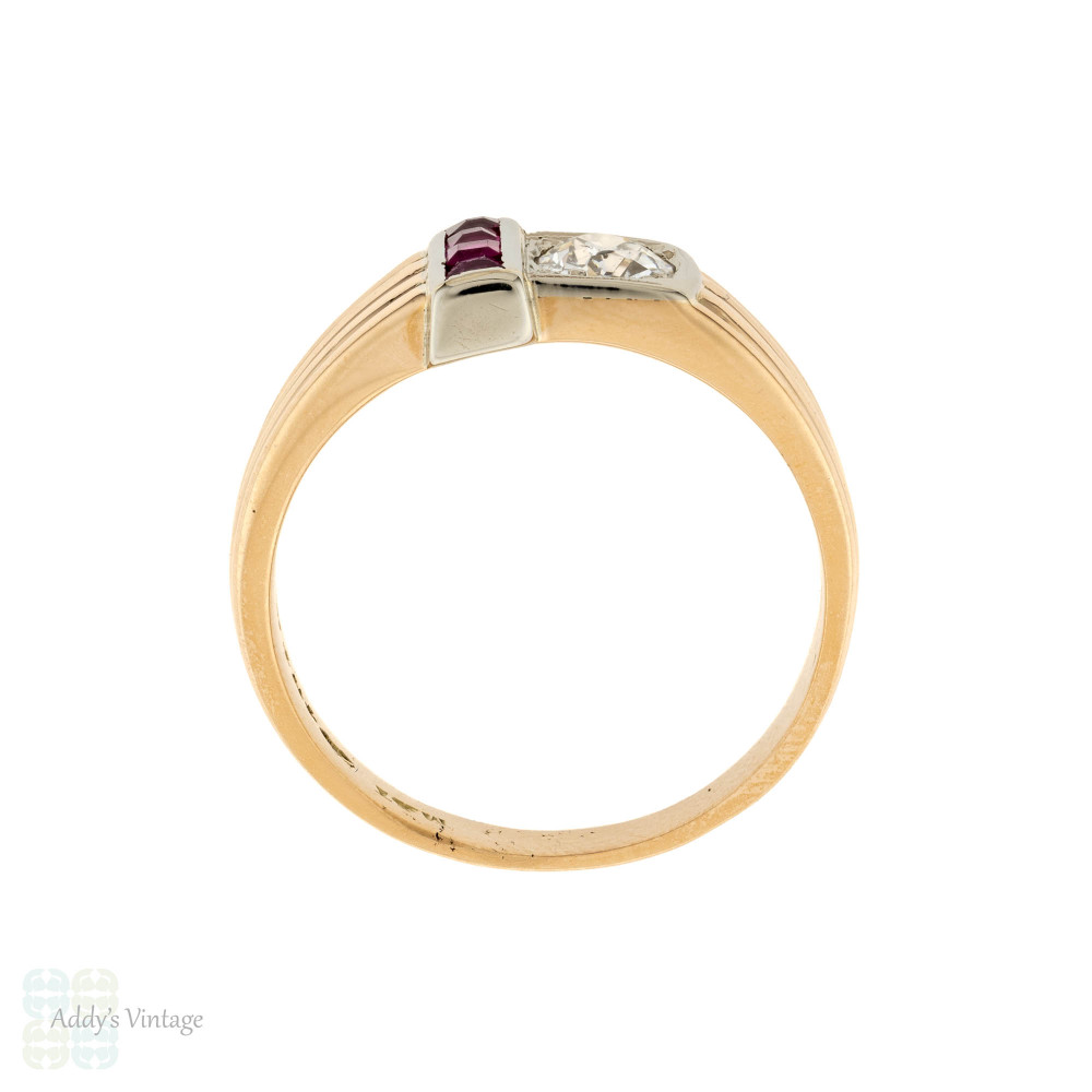 Mid Century Old Cut Diamond & Synthetic Ruby Tank Ring, 10k 10ct Gold Size S / 9.25.
