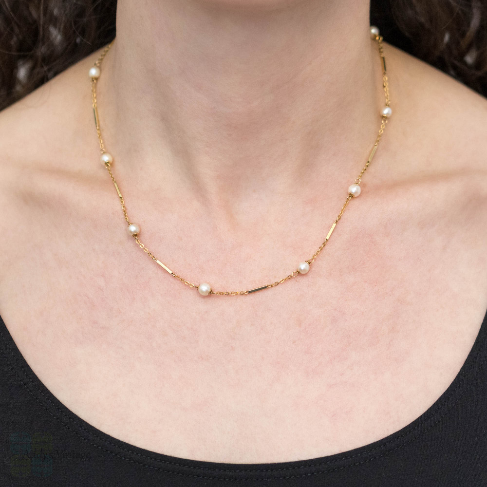 Vintage 10k Cultured Pearl Necklace, Alternating Bar & Gemstone Link Chain 46cm / 18inches.