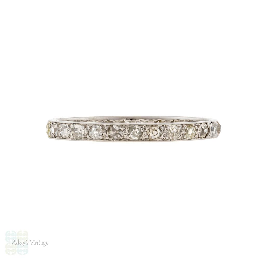Platinum Old Cut Diamond Full Hoop Eternity Ring, Narrow Antique Wedding Band Size Q.5 / 8.5.
