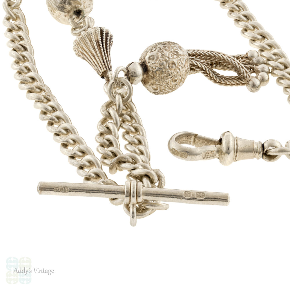 RESERVED Victorian Sterling Silver Fancy Link Chain Necklace, 1890s Hallmarks T-Bar & Dog Clip.