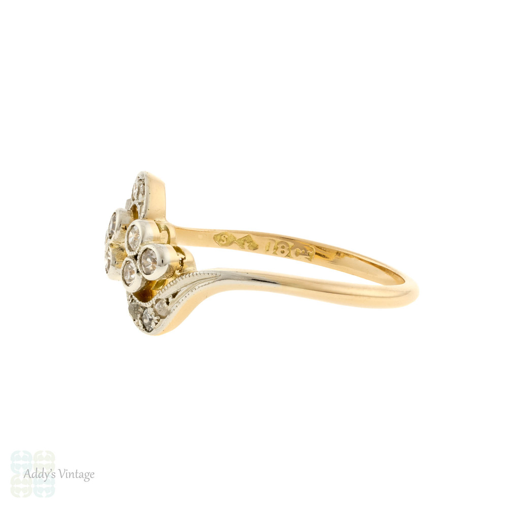 RESERVED Edwardian Diamond Cluster Ring, Unique Old Cut Engagement Ring Circa 1900s. 18ct Gold & Platinum.