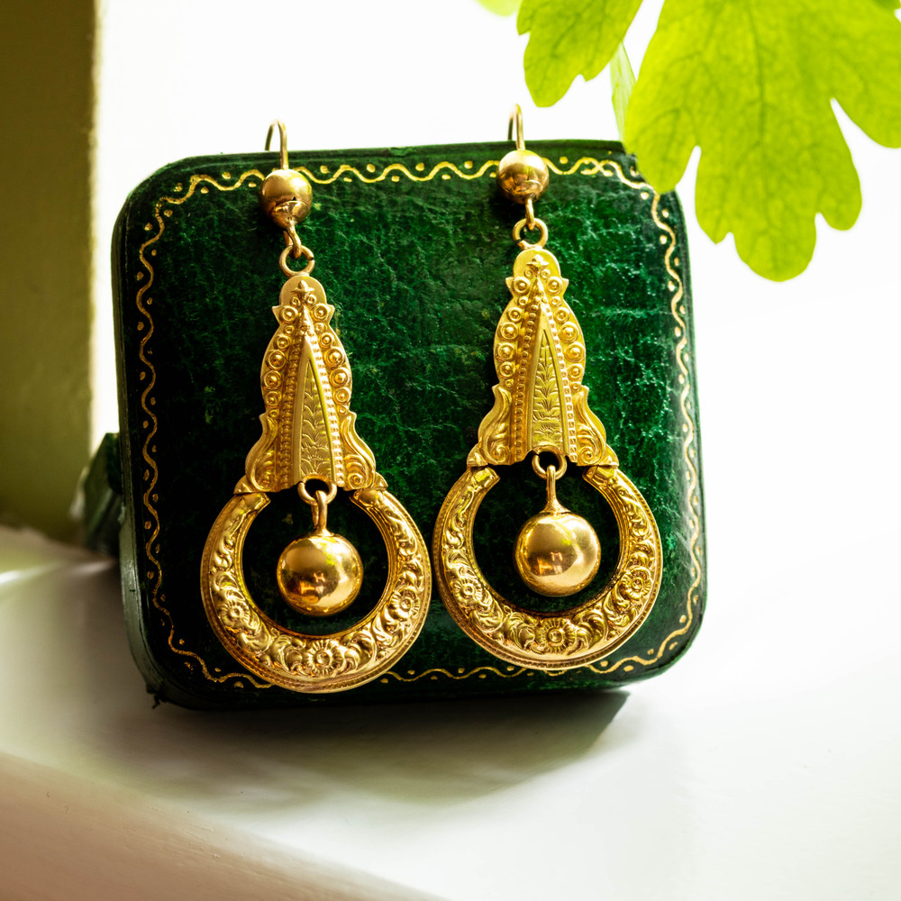 Victorian 9ct Gold Door Knocker Earrings, Large 9k Lightweight Engraved Dangle Earrings.