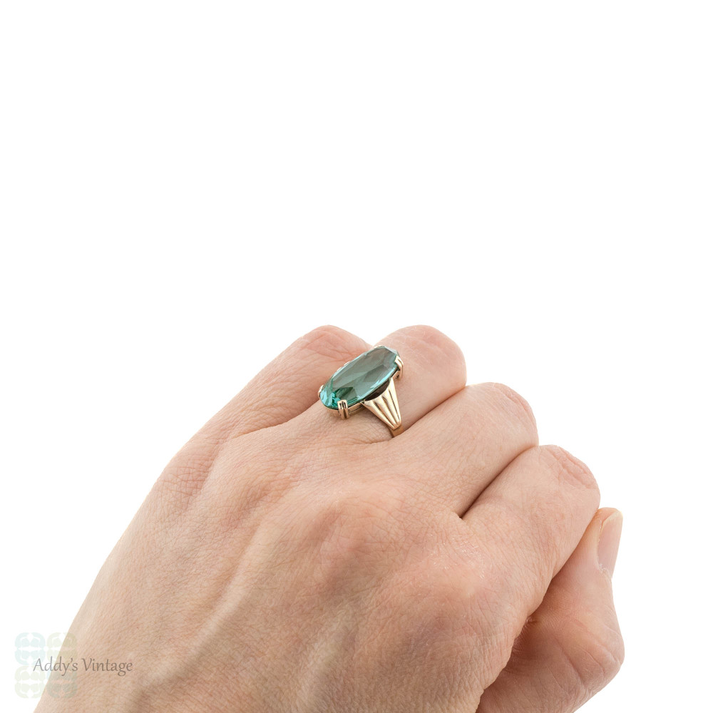 Vintage Synthetic Spinel Cocktail Ring, Large Teal Blue Oval 9k 9ct Gold Fan Mounting.