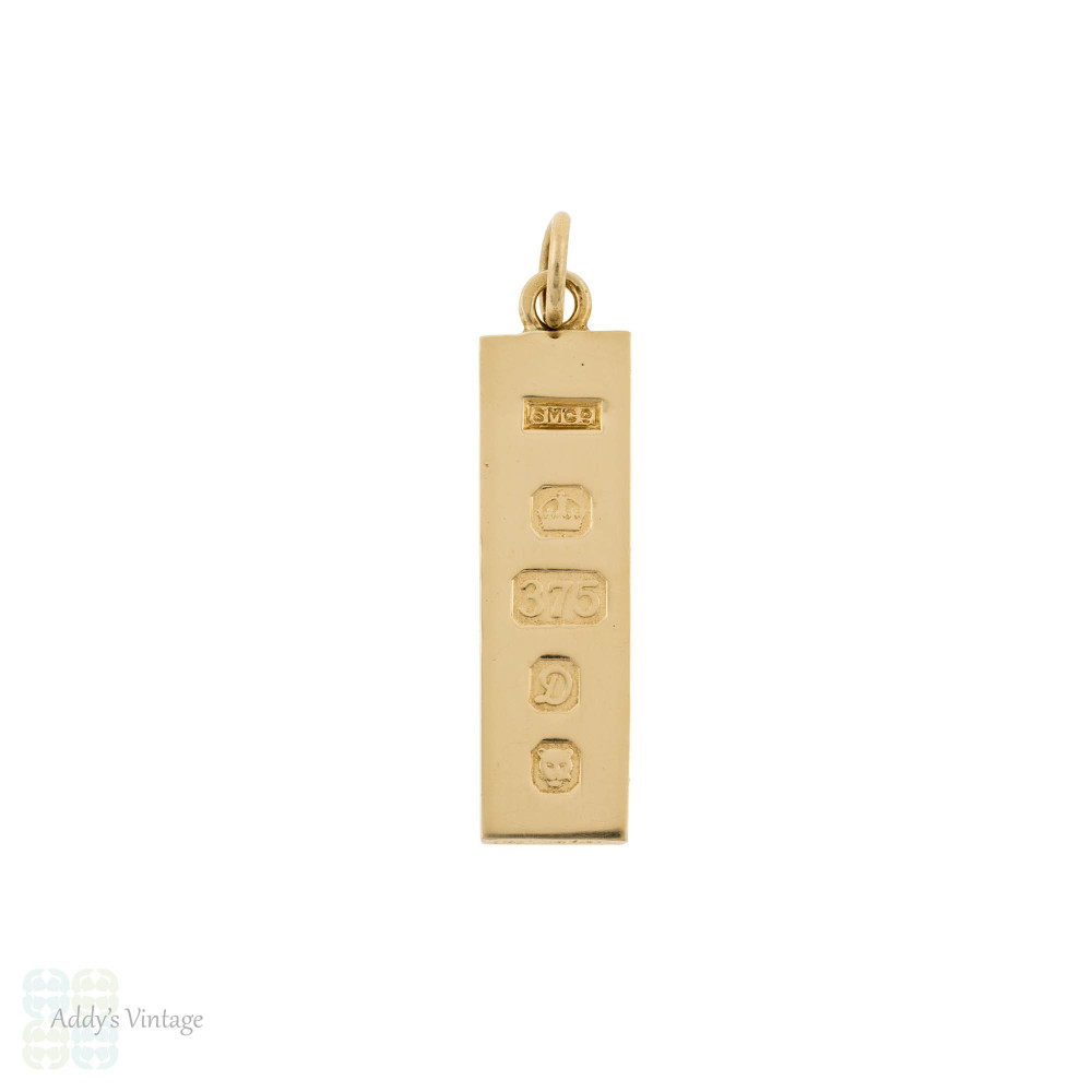 Vintage 9ct Yellow Gold Ingot Charm Pendant, 9k London 1978 English Hallmarks.